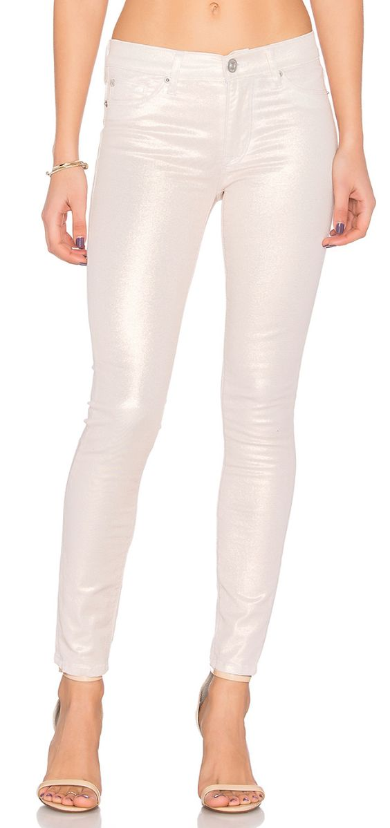 Pretty metallic glitter coated denim