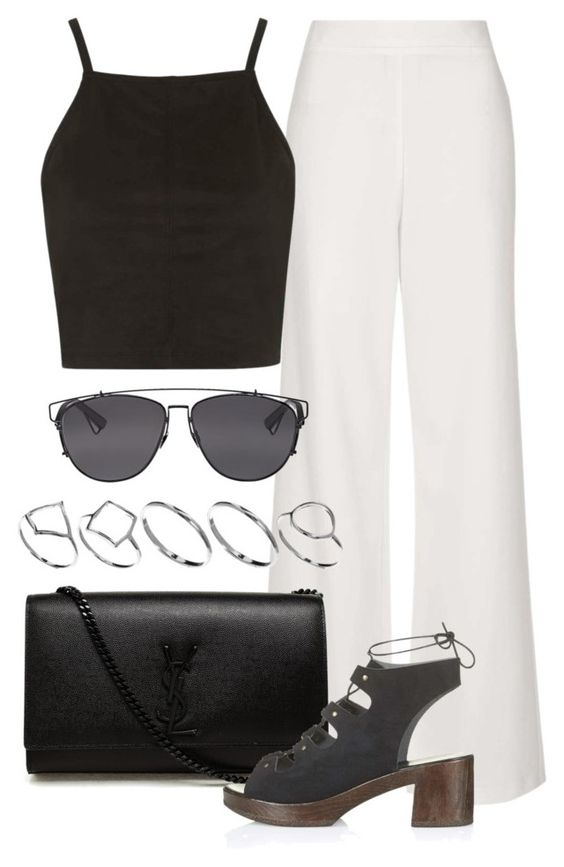 """""""Untitled #2128"""" by rosyfilm ❤ liked on Polyvore featuring Topshop, Christian Dior, Yves Saint Laurent and ASOS"""