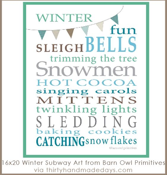 Subway art: Winter printable