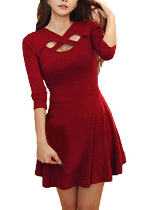 La vogue Damen Kurz Weinrot Ballkleid Abendkleid Brautkleid (M-Bust80-96)