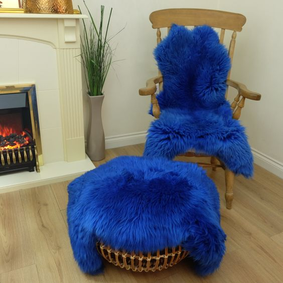 Bright Deep Blue Sheepskin Rug Amazing Softnes Best Quality Real Large