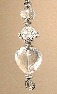 DIY All Glass Rear View Mirror Car Ornament Charm: Light-Catching Crystal Clear Heart & Silvery Accents - Ceiling Fan Pull Chain Ornaments - Amazon.com