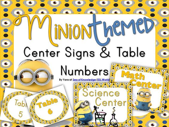 Upon several requests - I created this pack to go with any minion-themed classroom decor! Included: *8 Center Signs (2 Different font options included) *9 Table Numbers (2 different font options included) $ Sea of Knowledge