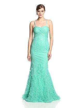 Kathy Hilton Women's Lace Mermaid Gown (Jade)
