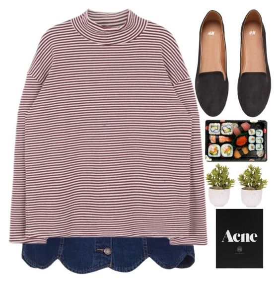 """Untitled #335"" by inkcoherent ❤ liked on Polyvore featuring H&M, Jura, Lux-Art Silks, denim, stripes and aesthetic"