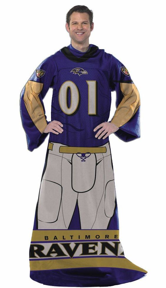 Officially Licensed Ravens Players Comfy Throw Blanket with Sleeves