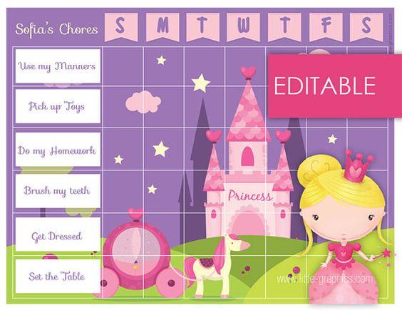 Editable Printable Princess Chore Chart Reward Chart