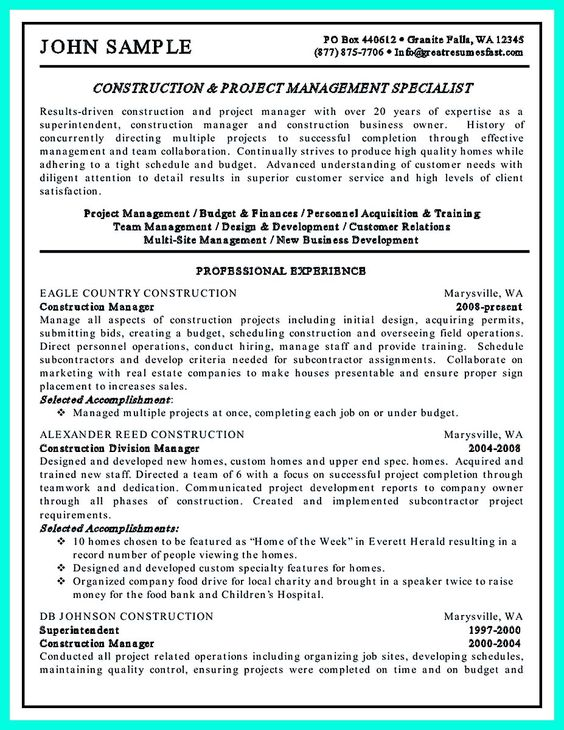 cool Cool Construction Project Manager Resume to Get Applied - resume for construction