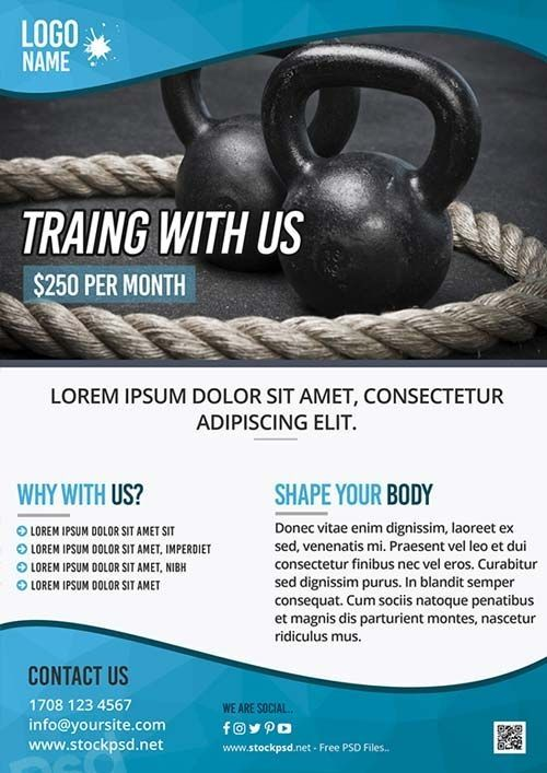 Personal Training Flyer Template Fitness Training Gym Free