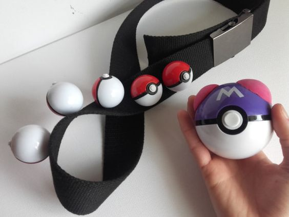 NEW pokemon trainer belt 5 small balls 1 big by GeekAndArtsy