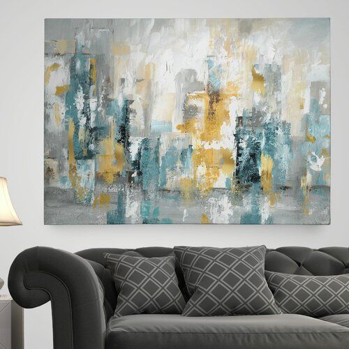 Modern Living Room Design Photo By Wayfair Professional Blue Canvas Art Canvas Painting Blue Painted Walls