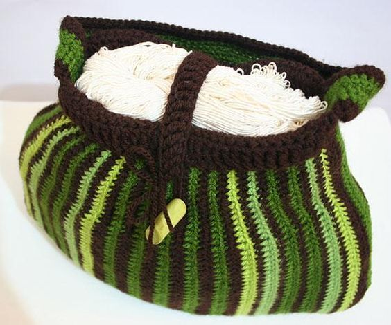 Green Stripes Tote Free Pattern Crocheting Pattern