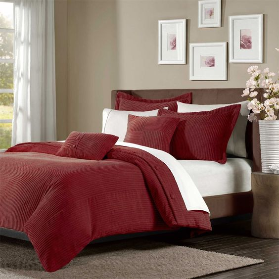 Madison Park Prescott 5 Piece Wide Cut Corduroy Duvet Cover Set Red King Stunning Home Decor Design Pinterest Bedding Sets And Bedrooms
