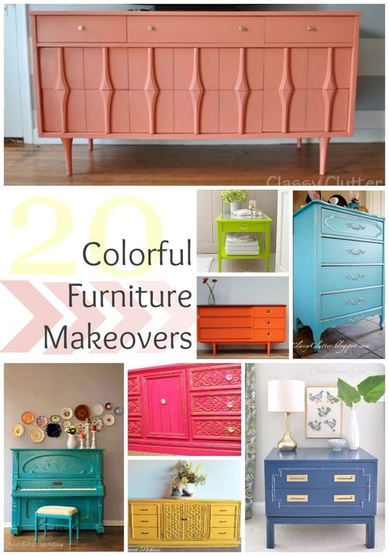 Colorful Furniture Makeovers - all of these are so cute!
