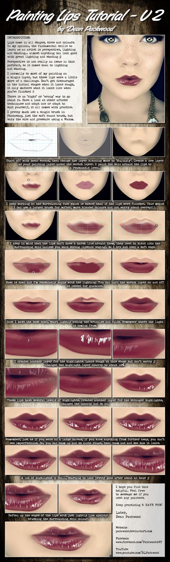 #drawing #Painting Lips Tutorial - V2 by Packwood.deviantart.com on @deviantART