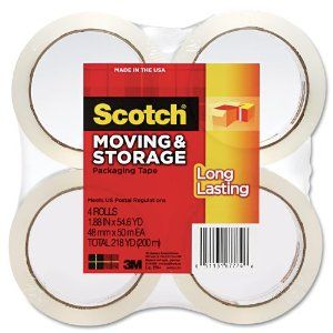 Scotch Long Lasting Moving & Storage Packaging Tape, 1.88 Inches x 54.6 Yards, 4 Rolls (3650-4)