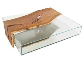 Cocobolo Glass Box Coffee Table  Contemporary, Organic, Industrial, MidCentury  Modern, Glass, Wood, Mirror, Natural Material, Coffee  Cocktail Table by Rotsen Furniture