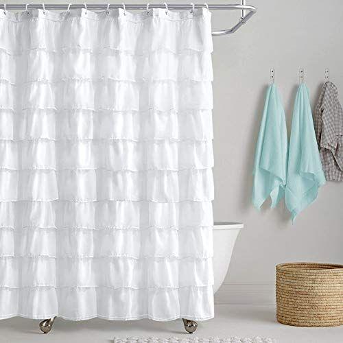 Reisen White Shower Curtain Farmhouse Ruffle Fabric For Bathroom Sheer Cloth Shower Curtains 72 In Long In 2020 Cloth Shower Curtain White Shower White Shower Curtain
