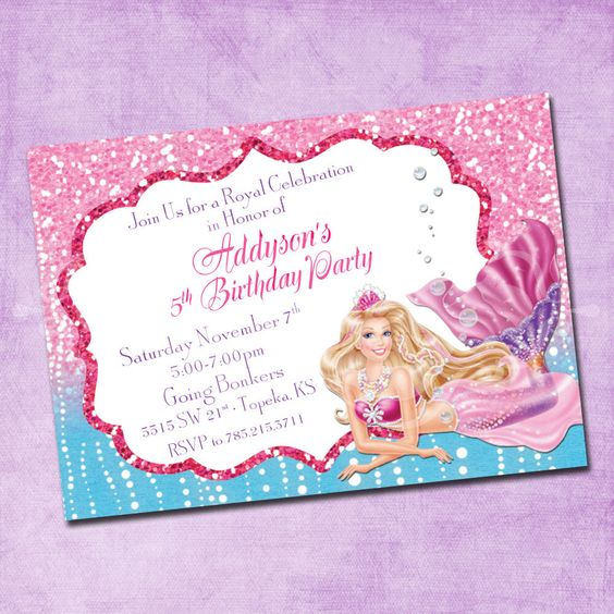 Barbie Mermaid Birthday Invitation by FreshInkStationery on Etsy https://www.etsy.com/listing/263545516/barbie-mermaid-birthday-invitation