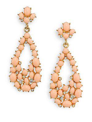 Kenneth Jay Lane Cabochon Cluster Teardrop Earrings - Gold-Peach