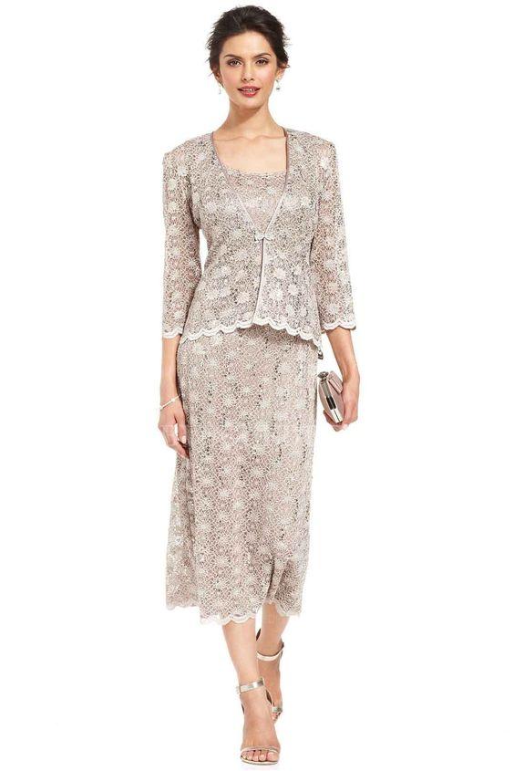 Sheath/Column Scoop Tea-length Lace Mother of the Bride Dress