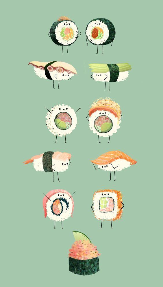 Cute Sushi Phone Wallpaper Lock Screen Drawings Of Friends Sushi Drawing Cute Food Wallpaper