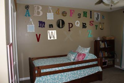Toddler room.  Complete with alphabet wall.