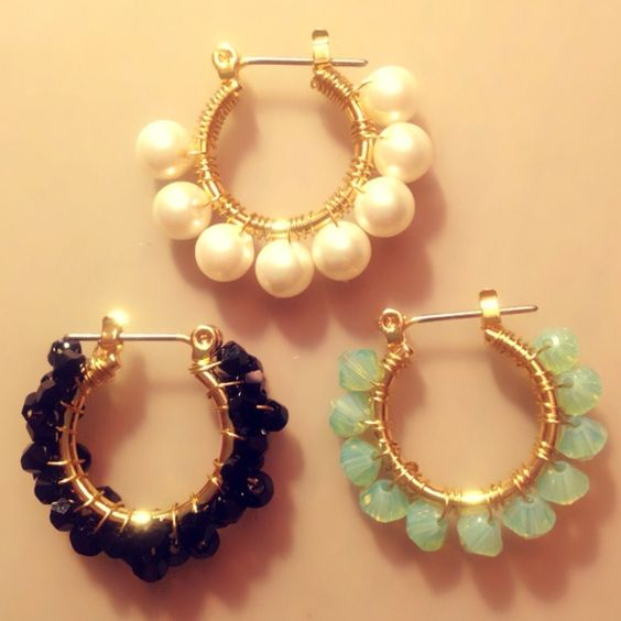 DIY - Hoop earrings wrapped with beads!: