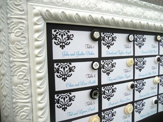 magnetic escort card holder...after it serves its purpose at the wedding, it's a chic chalkboard :) @ Wedding Day Pins : You're #1 Source for Wedding Pins!Wedding Day Pins : You're #1 Source for Wedding Pins!