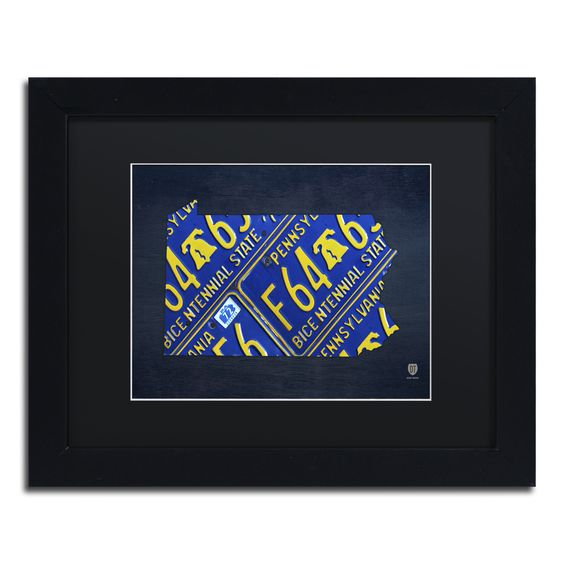Pennsylvania License Plate Map by Design Turnpike Framed Graphic Art