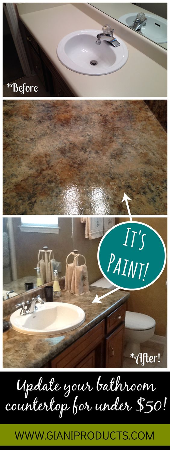 Affordable countertop makeover. Paint that looks like granite! #DIY www.gianigranite.com Countertop Paint!