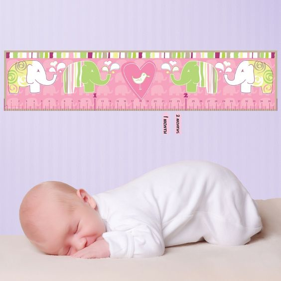Pink Elephant Peel and Stick Baby Growth Chart