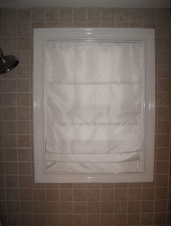 Bathroom shower window waterproof privacy roman shade bathroom pinterest - Bathroom shades waterproof ...