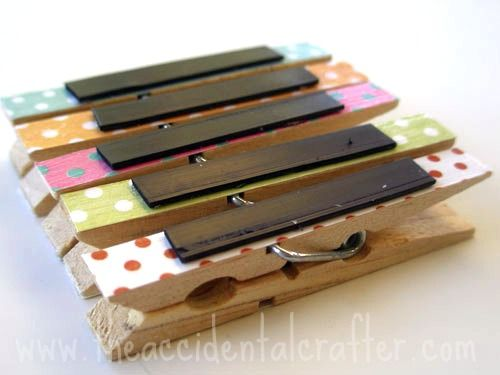 cute magnet clothespins... these would help with some of the falling papers on the fridge Love it! Find magnets, glass tiles, adhesives here: www.eCrafty.com