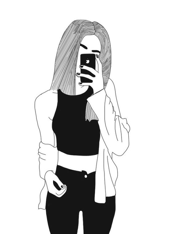 Drawing Of A Couple Both Taking Selfie Black And White