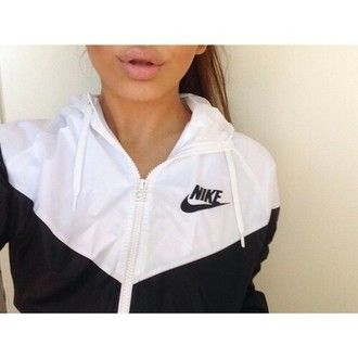 jacket black and white nike nike windrunner