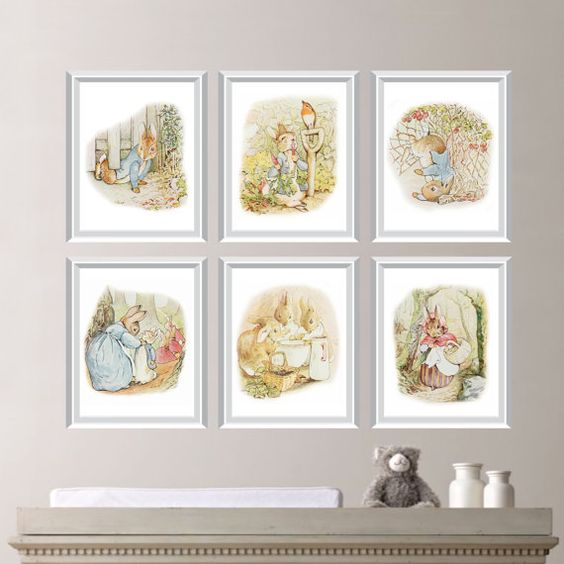 Peter Rabbit Nursery Art:    This six-print set features six images of Beatrix Potters beloved story, The Tale of Peter Rabbit. Please note