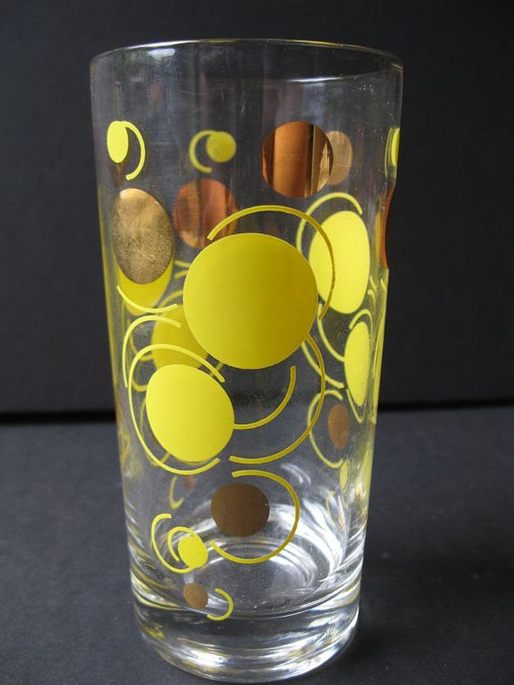 Vintage drinking glass gold and yellow via Etsy