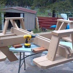 Traditional Square Picnic Table Benches Woodworking