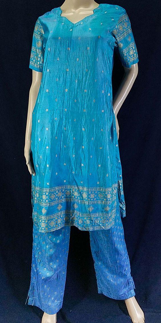 Turquoise silk gold print salwar kurta set (S)