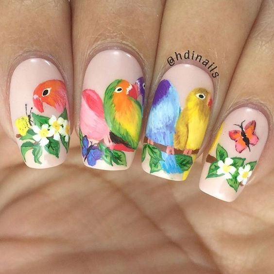 Love birds nail art by @hdinails: