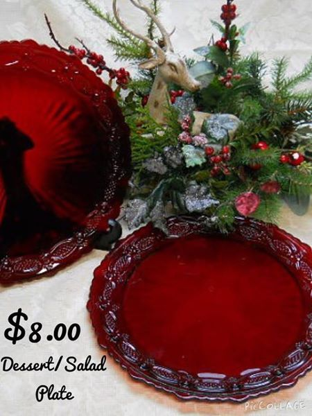 """Cape Cod Collection """" A Fabulous Ruby Red Pressed Glass Roman Rosette Pattern"""" #Vintage #Collectibles #Table #Decor #Unique Gift"""