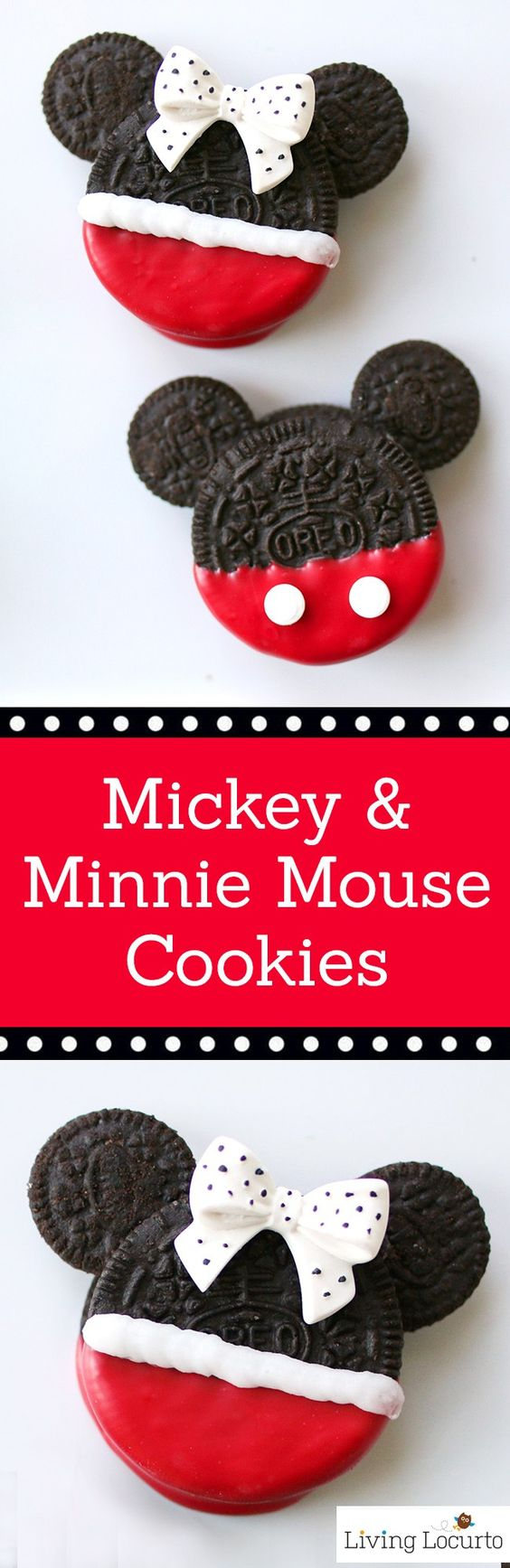 Cute Disney Themed No-Bake Cookies! Mickey and Minnie Mouse Oreo Cookies are perfect for a Disney Birthday Party or Everyday Fun Food Idea for Kids! LivingLocurto.com: