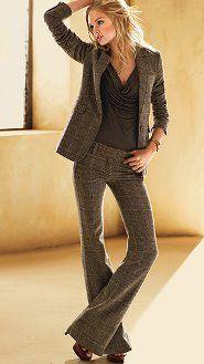 Wide leg pants and jacket.