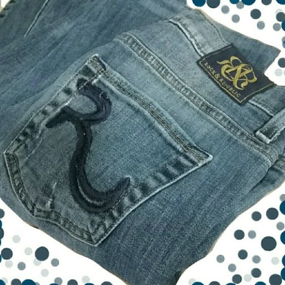 Rock & Republic Kasandra Jeans These Rock & Republic Kasandra Jeans are in immaculate condition! Pant cuffs are in perfect shape, showing no wear. Get ready to rock that hot tooshi in these designer jeans! A slight distressed look gives these jeans that extra appeal. Get them before someone else does!  (Note: 1 rear beltloop was disattached. A well constructed patch was added inside & the loop reattched. Outward appearances they look unaltered; inside you can see a very professional looking…