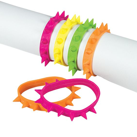 Neon Spike Bracelets for a neon or 80's party.... $5.25 for 24 at OrientalTrading.com