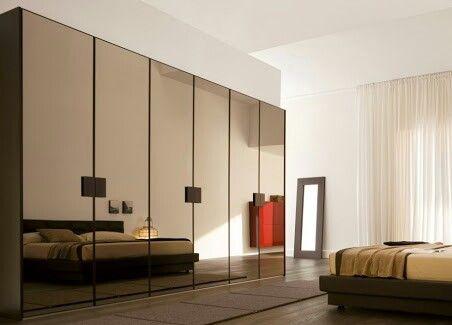 Wardrobe with bronze mirrored doors