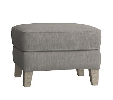 Wingback Ottoman, Performance Tweed Gray (Driftwood)