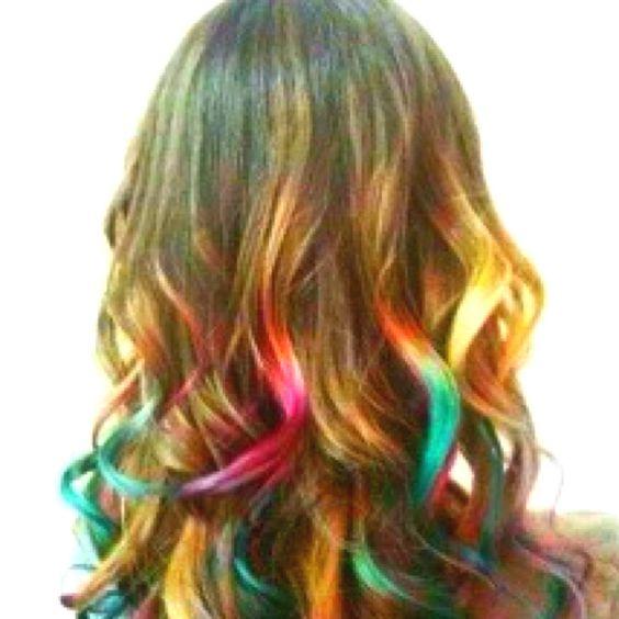 Rainbow hair tips