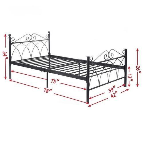 Lillianna Black Steel Metal Bed Frame Twin Size Bed Frame Metal